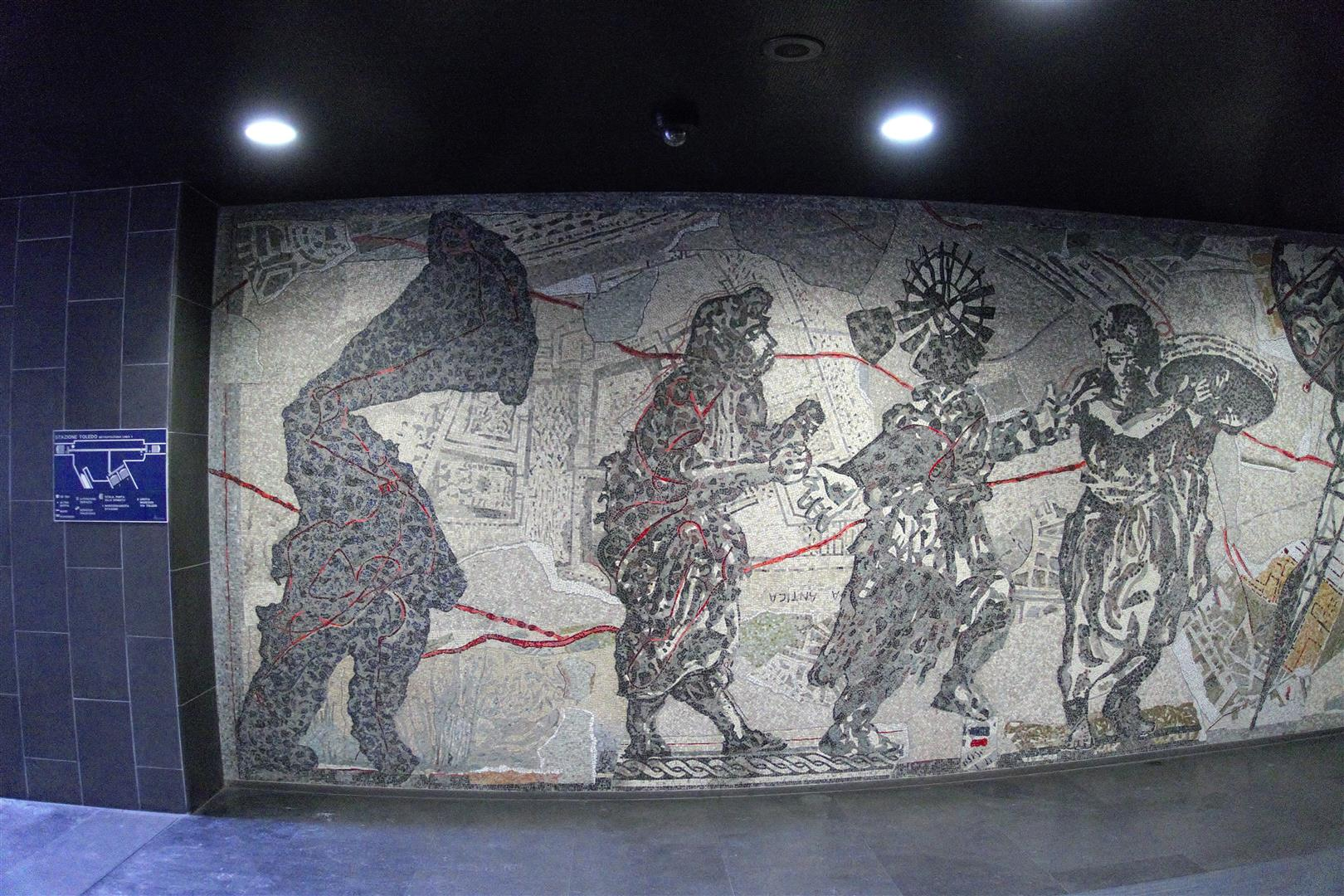 Wandbild Kentridge, Mosaik, Anlehnung an ercolano und Pompeji