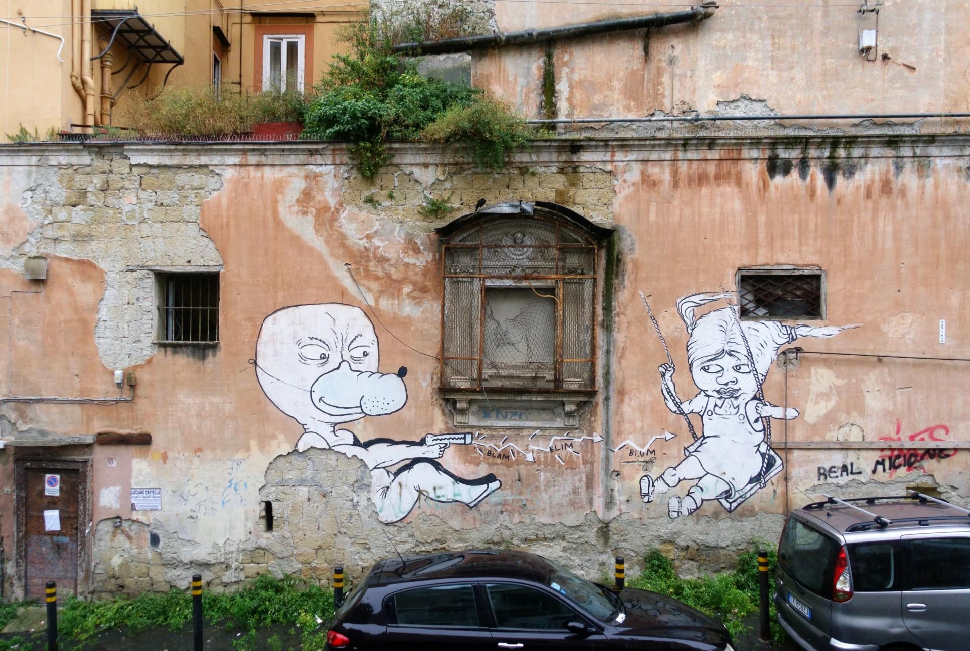 Rotkäppchen und der Wolf., Street Art Neapel